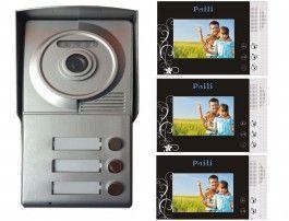 """Portier interphone vidéo 3 appartements + 3 écrans noirs  4.3"""""""