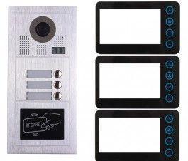 Portier interphone modern 2 fils 3 appartements / 3 écrans noirs + lecteur de carte