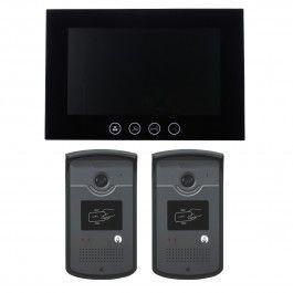 Interphone vidéo CARDS avec 2 platines de rue RFID - mémoire photos