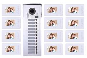 Interphone vidéo 12 appartements + 12 écrans