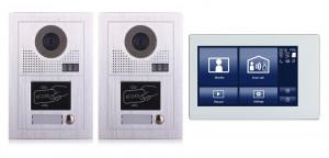"""Portier interphone 2 entrées Modern 2 fils 1 appartement / 2 platines avec lecteur de carte + 1 écran tactile 7"""" SMART"""