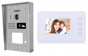 Portier interphone Modern en applique 2 fils 1 appartement / 1 écran blanc + lecteur de carte