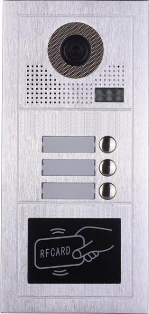 Platine de rue PL619-3D pour 3 appartements 2 fils gamme PL avec lecteur de badge RFID