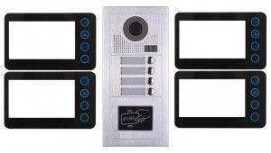 Portier interphone modern 2 fils 4 appartements / 4 écrans noirs + lecteur de carte