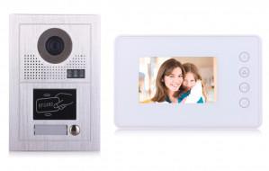 Portier interphone Modern 2 fils 1 appartement / 1 écran blanc + lecteur de carte