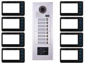Portier interphone vidéo modern 2 fils 8 appartements / 8 écrans noirs + lecteur de carte
