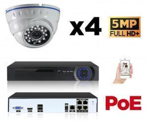 Kit vidéo surveillance 4 caméras 5Mp IP POE