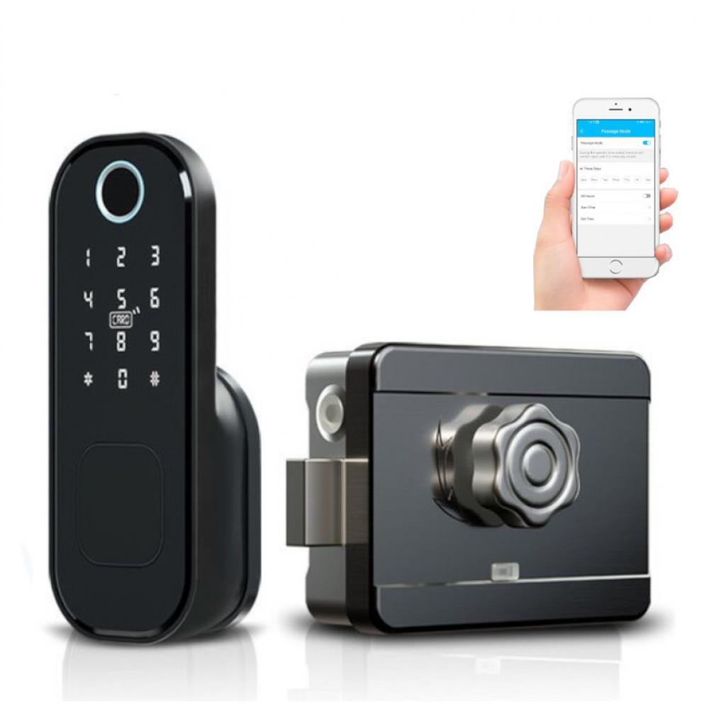 Verrou connectée biométrique, code et badge - locky3