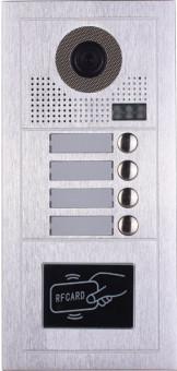 Platine de rue PL619-4D pour 4 appartements 2 fils gamme PL avec lecteur de badge RFID