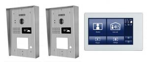 """Portier interphone 2 entrées Modern en applique 2 fils 1 appartement / 2 platines avec lecteur de carte + 1 écran tactile 7"""" SMART"""