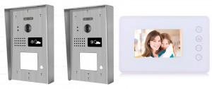 Portier interphone 2 entrées Modern en applique 2 fils 1 appartement / 2 platines avec lecteur de carte + 1 écran blanc