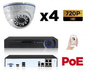 Kit vidéo-surveillance 4 caméras dome IP HD 720P POE