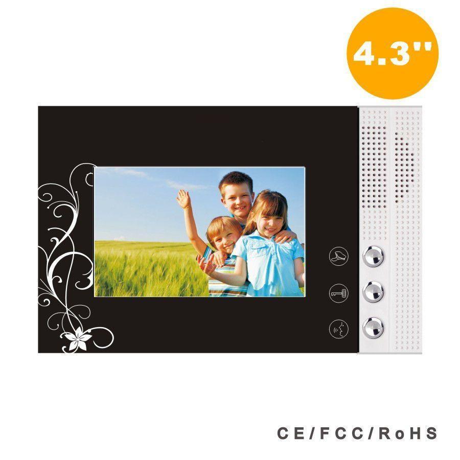 Portier interphone 3 appartements + 3 écrans noirs 4.3\
